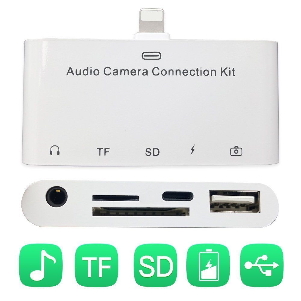 <font><b>5</b></font> in <font><b>1</b></font> Audio Camera Connection Kit Camera Reader Adapter With TF/SD Card Reader 3.<font><b>5</b></font> AUX For <font><b>iPhone</b></font> 6 7 8 image