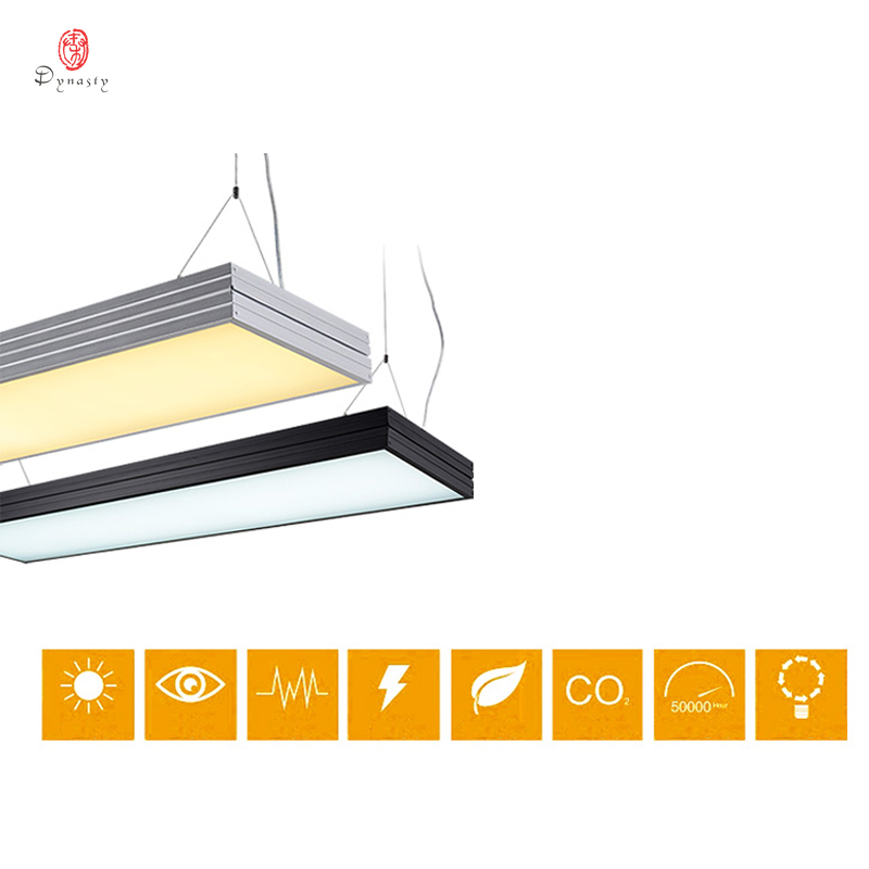 Modern Hanging Lights LED Energy Saving Long Tube Office Lights Square Commercial Project Fitness Conference Lighting