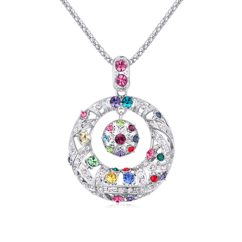 2016 new design high-grade multicolor crystal pendant austrian crystal long sweater necklace free shipping