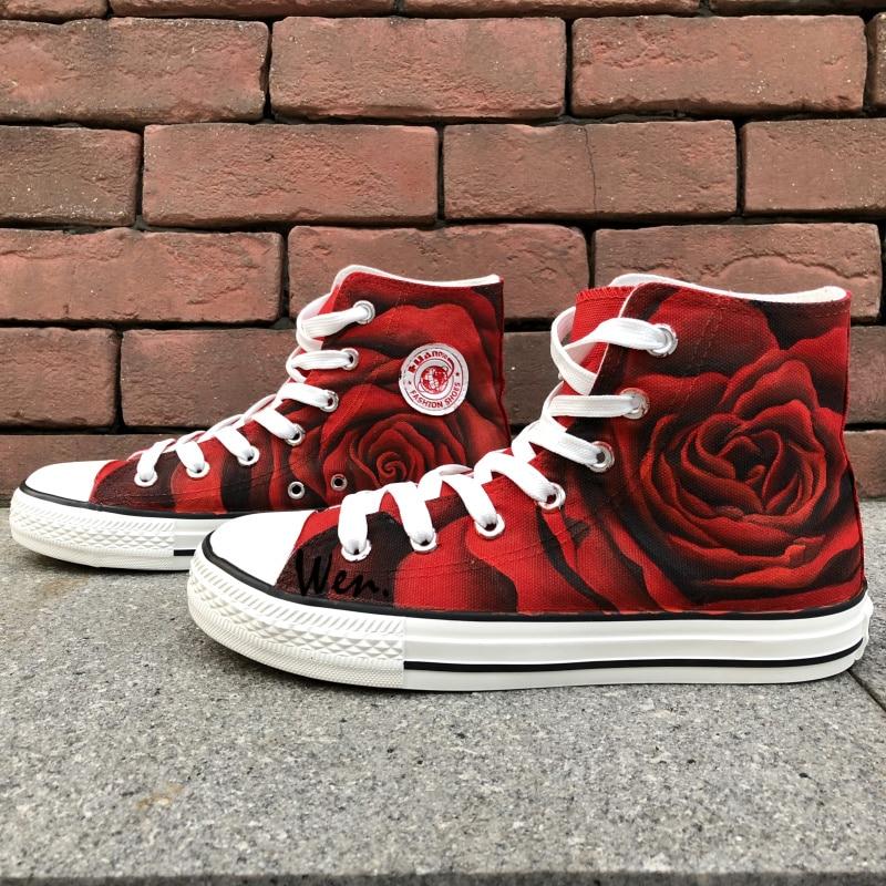Wen Original Design Custom Shoes Håndmalede Sneakers Rose All Red Flower Women's High Top Canvas Sneakers til Gaver