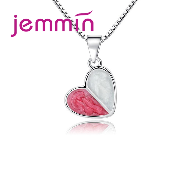 Jemmin Higher Quality Lovely Pink Heart Pendant +18 925 Sterling Silver Necklace Chain For Women Girls Lady Gifts AccessoriesJemmin Higher Quality Lovely Pink Heart Pendant +18 925 Sterling Silver Necklace Chain For Women Girls Lady Gifts Accessories