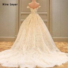 Свадебное платье принцессы с открытыми плечами, коротким рукавом, аппликацией из бисера и кружевными цветами, размера плюс