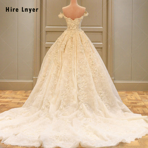 Image 1 - HIRE LNYER Custom Made Off The Shoulder Short Sleeve Beading Appliques Lace Flowers Princess Ball Gown Wedding Dresses Plus Size