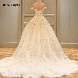 Image 1 - לשכור LNYER תפור לפי מידה כבוי כתף שרוול קצר ואגלי אפליקציות תחרה פרחי נסיכת כדור שמלת חתונת שמלות בתוספת גודל