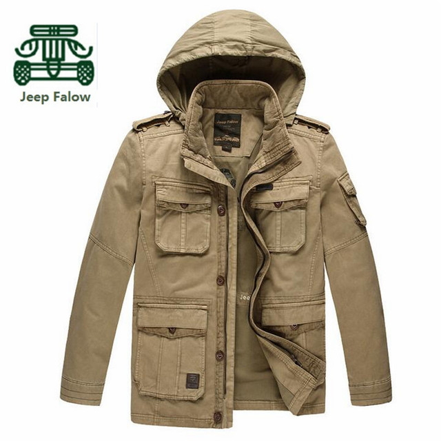 AFS JEEP Falow 4xl/5xl 100% Pure Cotton Man's Cargo Jacket,Loose workers Man's Overall Thickness Detachable Hooded Coats Winter