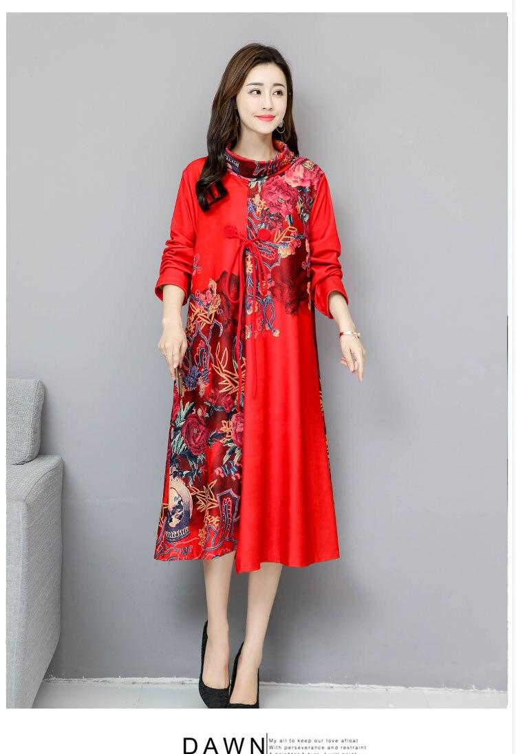 Grande taille femme automne et hiver robe à manches longues 2019 tempérament était mince et faux deux long