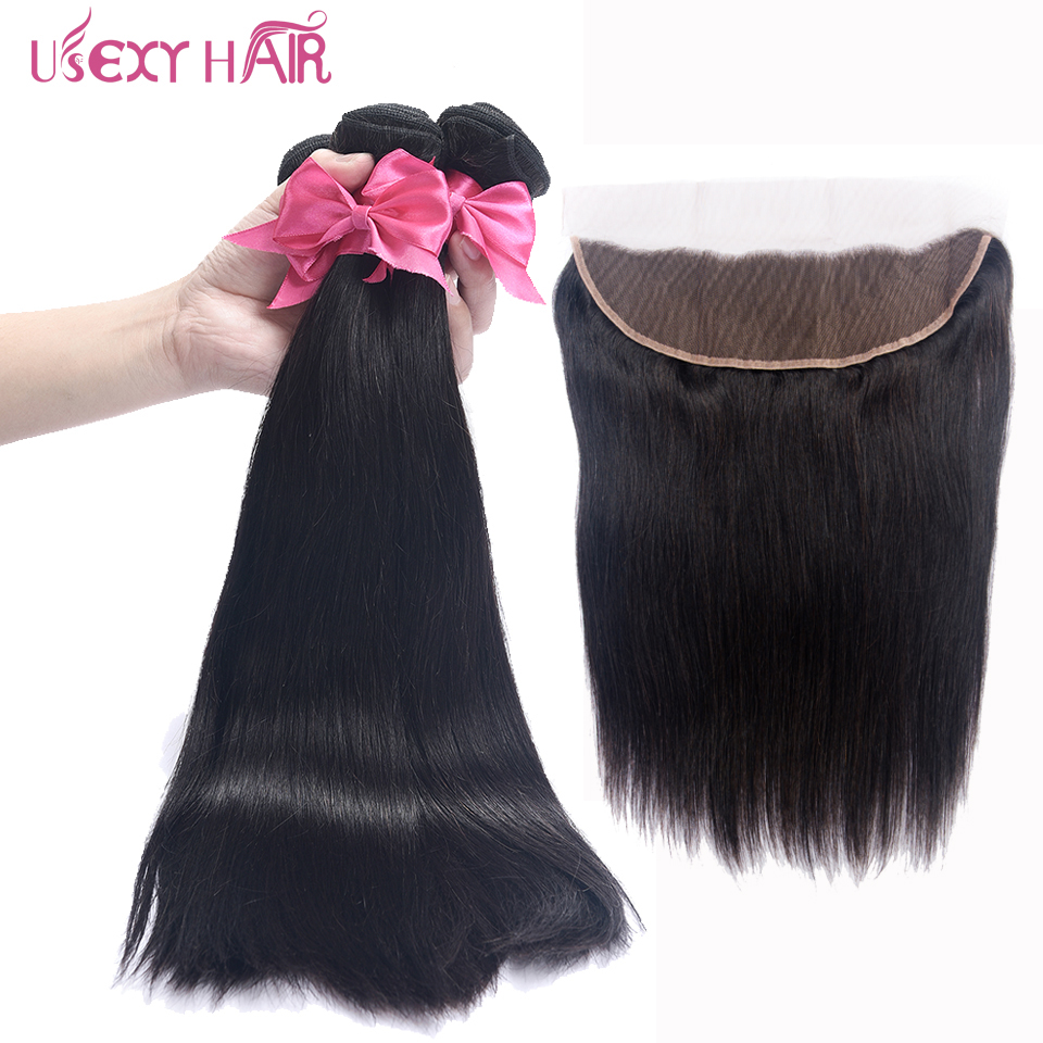 USEXY HAIR 3Bundles With Frontal Brazilian Straight Bundles Lace Front Human Hair Weave Bundles With Closure Remy Hair Extension
