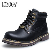 New Men Boot Big Size 38-50 Western Boots Cow Leather Man Shoes Lace-Up Army Boots Handmade Winter Boots Plush Luxury Quality