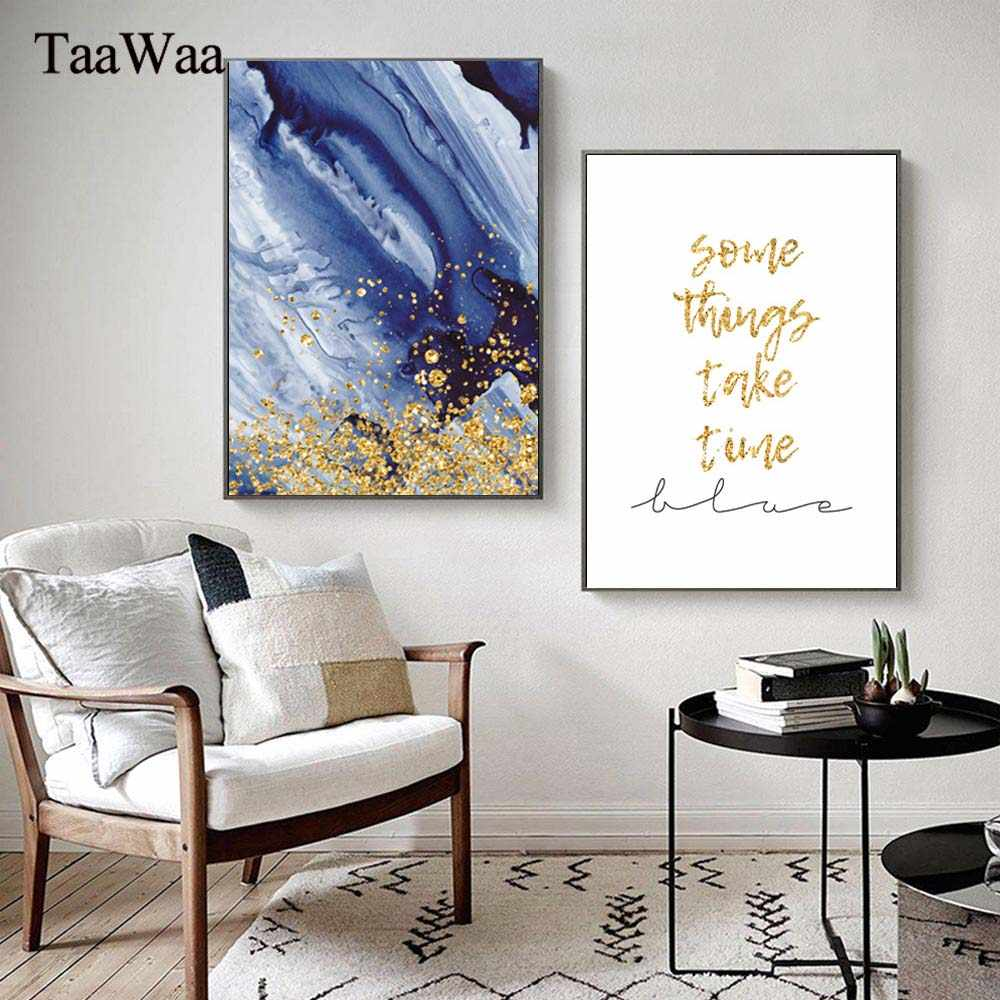 TaaWaa Abstract Canvas Poster Gold Quote Blue painting Nordic Modern Simple Wall Art Decorative Pictures For Living Room Decor