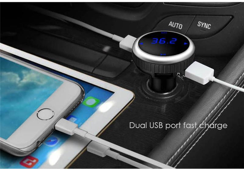 Samochodowy Odtwarzacz MP3 Audio Bluetooth Nadajnik FM Z Pilotem Zestaw Samochodowy Zestaw Głośnomówiący FM Modulator bezprzewodowy Ekran LCD w/TF gniazdo 13