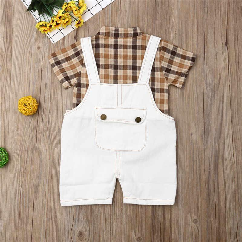 1-5Y Senhores Roupa Dos Miúdos Do Bebê Conjuntos Meninos Criança Menino Outfits Partido Mantas de Lapela de Manga Curta T-Shirt Calças Jardineiras Denim Romper 1-5Y