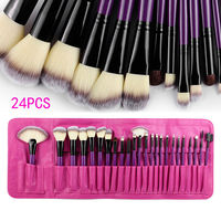 24PCS Beauty Makeup Brushes Set Cosmetics Foundation Eyeshadow Eyeliner Lipstick Make Up Blush Soft Brush Bag