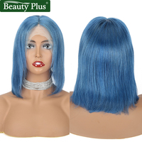 Beauty Plus Short Human Hair Wigs Blue Bob Lace Front Wigs 4x4 Inches Brazilian Wig Straight Pre Plucked With Baby Hair Remy