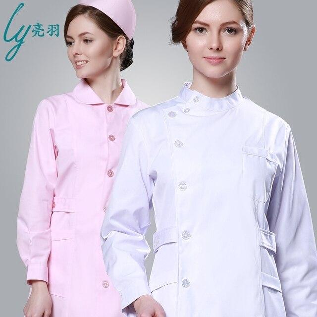 5e1927b36ab Nurse Winter Long Sleeve Uniform Female White Powder Blue Summer Wear Long-Sleeved  Nurse Coat