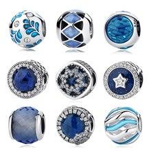 Аутентичные 925 пробы серебряные лучистые сердца синий CZ Кристалл Стекло бисера Кулон Fit Pandora оригинальные Подвески браслет ювелирные изделия