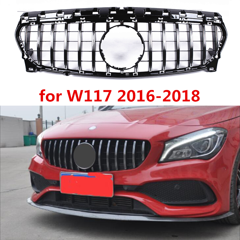 Mercedes W117 GTR style ABS Plastic Front Racing Grill Grile for Benz W117 CLA180 CLA200 CLA220 CLA250 2017 2018 Silver/Black