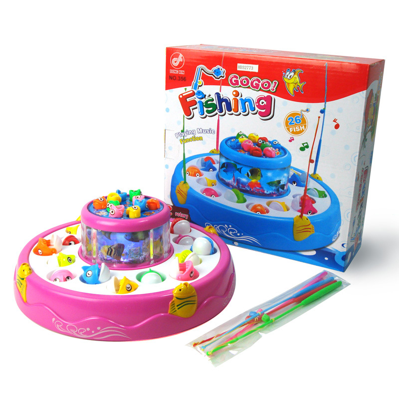 Double-Layer Electric Spinning Fishing Game turntable Toy Music Light 4 Magnetic Fishing Rods Baby Bath Toys Playing water toy