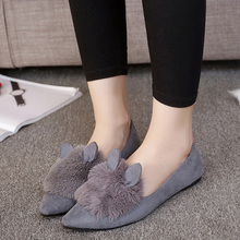 2016 New Winter Rabbit Ballerina Shoes Women Fashion Suede Ballet Flats Shoes Leisure Travel Flat Pregnant Shoe for Lady