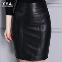 2017 New Fashion Office Lady Slim Fit Pockets Zipper Women Genuine Leather Sheepskin Skirts Female Knee