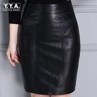 2018 New Fashion Office Lady Slim Fit Pockets Zipper Women Genuine Leather Sheepskin Skirts Female Knee Length Falda Plus Size