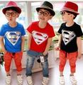 Envío Gratis Nueva Moda de Verano de Algodón Niñas niños Ropa Niños Superman Camisetas Camisas de Los Niños Del Muchacho Camisetas de Manga Corta