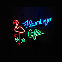 17 14 FLAMINGO CAFE NEON SIGN Signboard REAL GLASS BEER BAR PUB Billiards Display Restaurant Shop