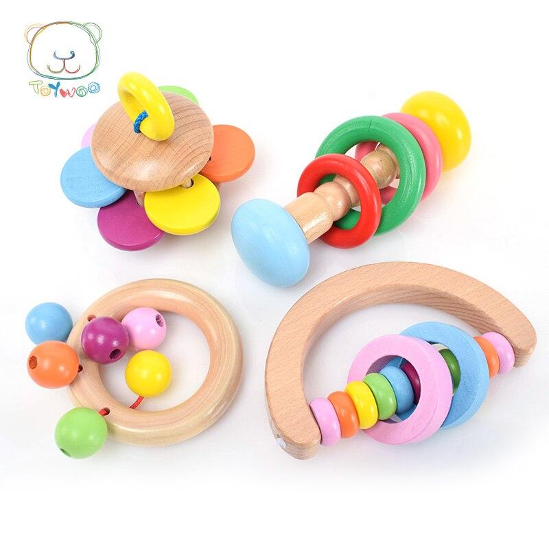 لعبة وو خشبية ملونة تهتز بيل صانع - لعب للأطفال الرضع