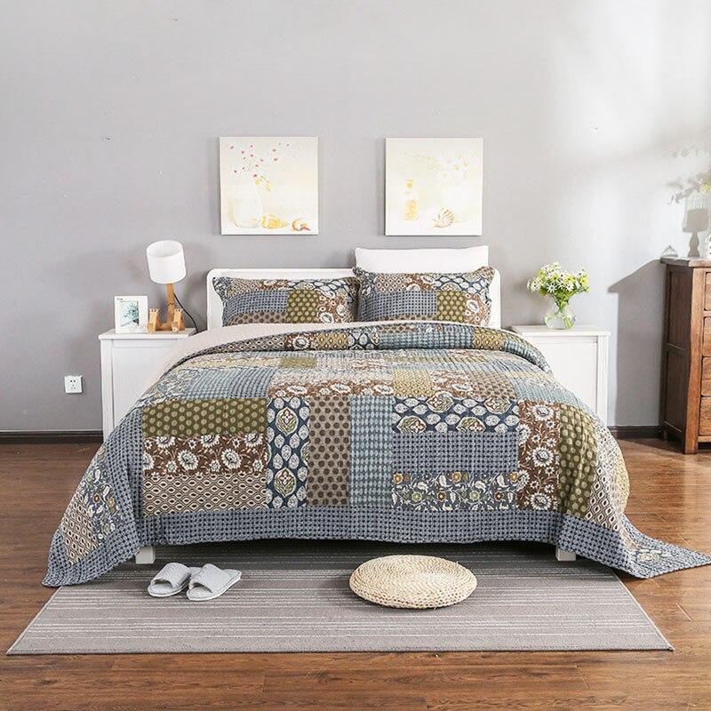 amricain la main patchwork couvre lit ensemble 3 pcs literie de couverture coton courtepointes - Lit Americain King Size