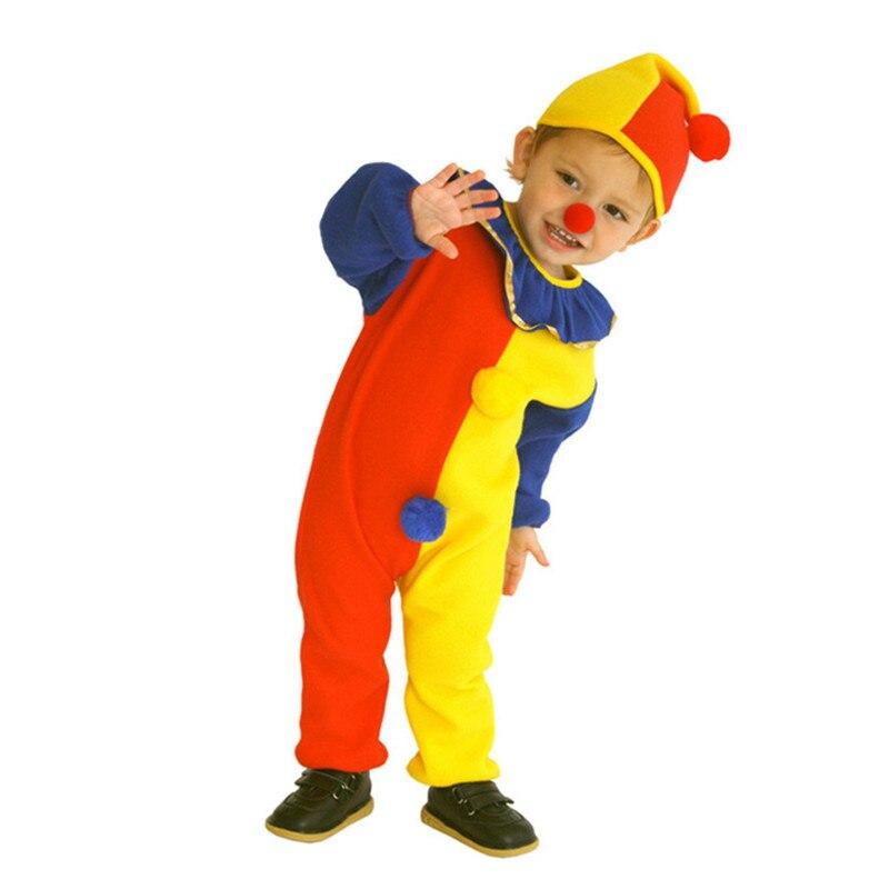 Niños bebé niños payaso Cosplay traje monos y monos + sombrero + nariz Halloween actuación fiesta familiar
