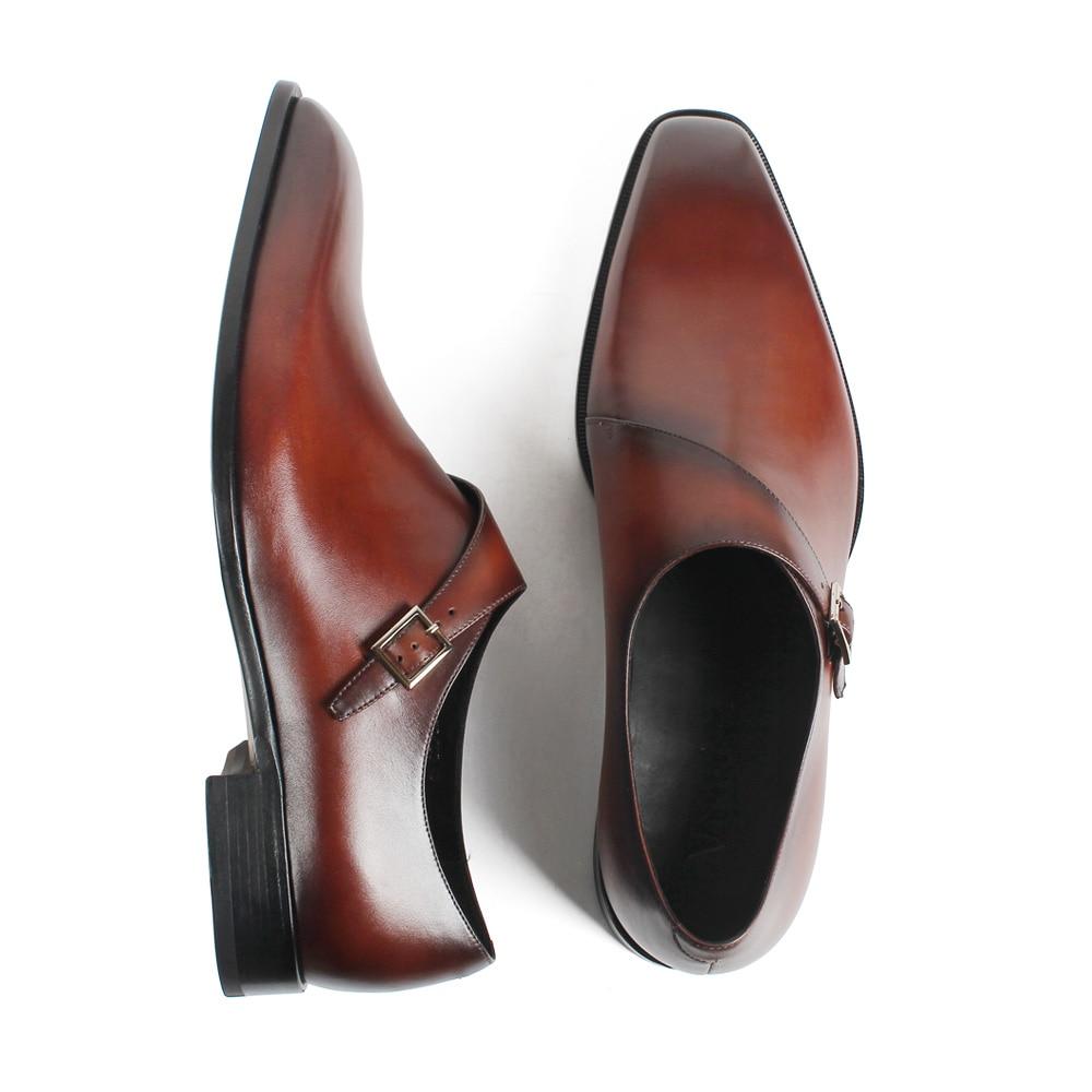 Marca Genuino Formal De Hombre Para Mens 2019 Zapatos black Lujo Monje Vestido Patina Hecho Doble Mano Zapato Boda Cuero Marrón Moda Brown Vikeduo A UanqxnP