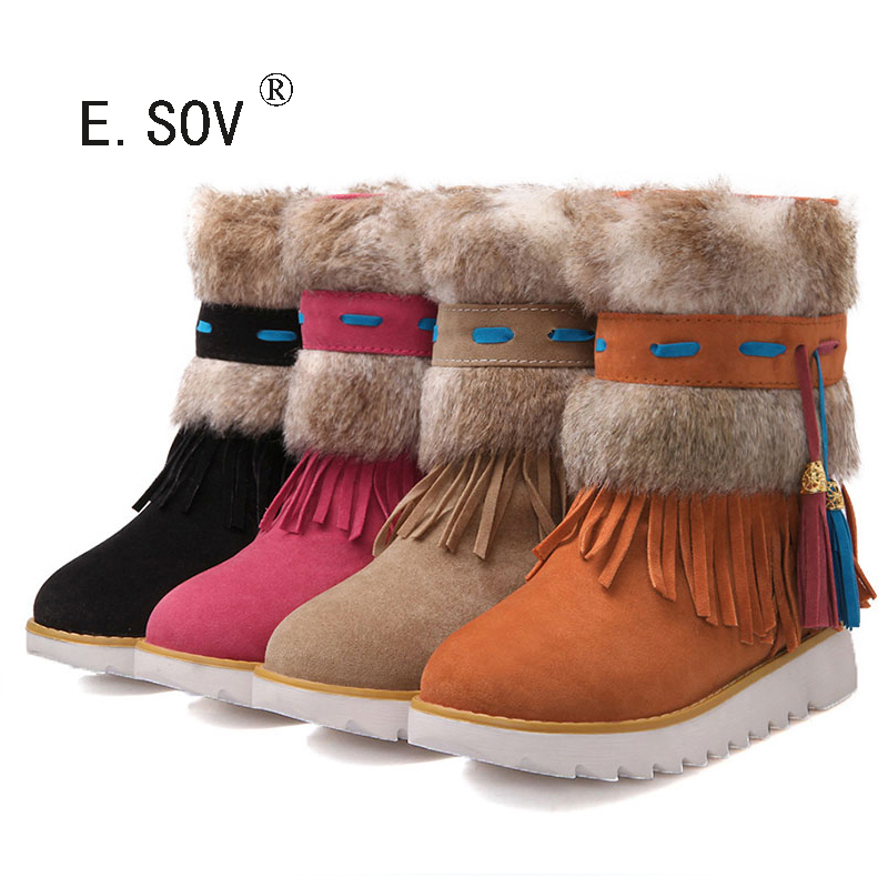 ФОТО ESOV Large Size 35 44  Flat Heel Black Ankle Women Boots Shoes Beaded h Winter Boot Woman Tassel Warm Snow
