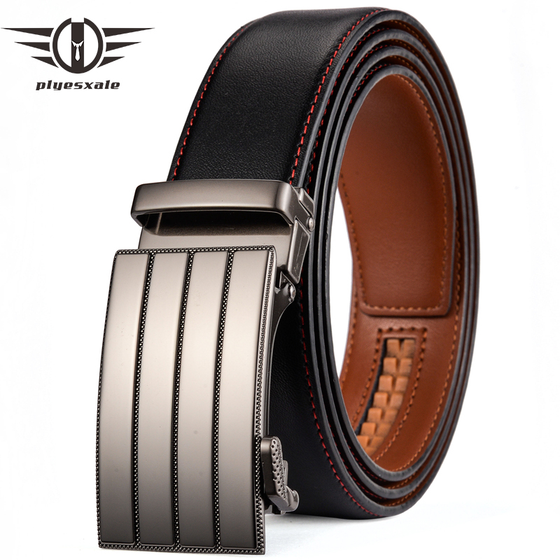 Plyesxale 2018 New Design Belt Men Automatic Buckle Leather Belt For Men Luxury Black Fashion Belt High Quality Dropshipping G75