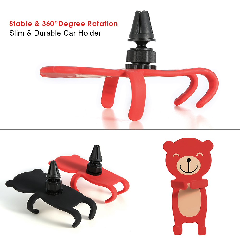 360 Degree Rotation Car Holder Stand For Huawei P20 For Xiaomi Redmi 5 Plus Cute Cartoon Bear Phone Car Holder For iPhone 7 Plus