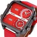 OULM Nova Praça de Esportes Militares relógios para Homens DZ Relógio de Quartzo-2 Tempo zona de Couro Macio Cinta Design Retangular 2016 Marca + Caixa de Presente