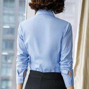 Image 2 - 2019 New Autumn Women Cotton Shirt Fashion Temperament Long Sleeve Slim Formal Blouse Office Ladies Work Tops White Blue