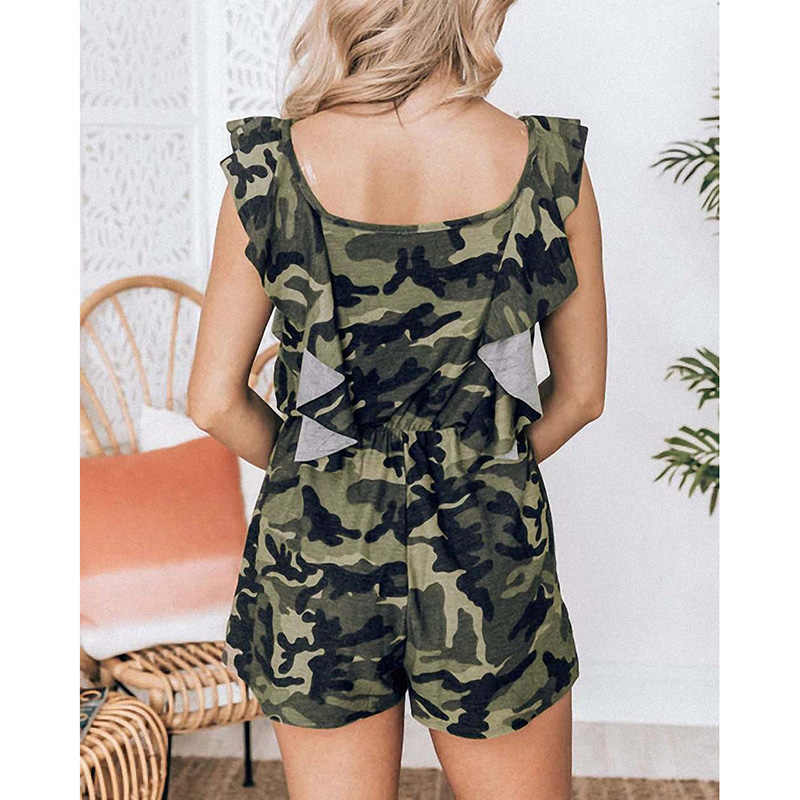 Women Summer Jumpsuit Sleeveless Camouflage Print Boho Trousers Overalls Casual Rompers Womens Clothing 2019 SJ3043F