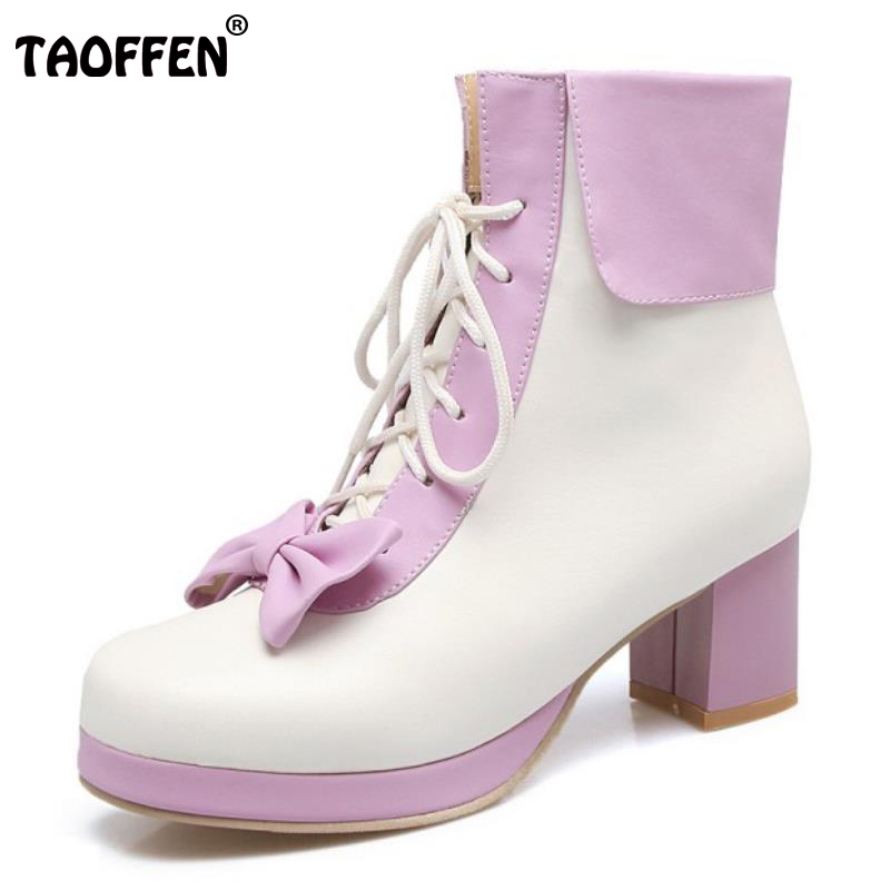 TAOFFEN Size 30-44 Ladies High Heel Mid-Calf Boots Women Bowtie Platform Cross Strap Thick Heels Boot Party Sweet Lady Footwears