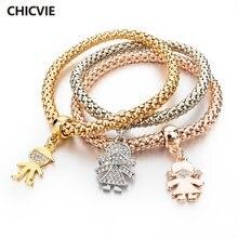 Chicvie 3 шт бохо золотой цвет роскошный браслет дружбы femme