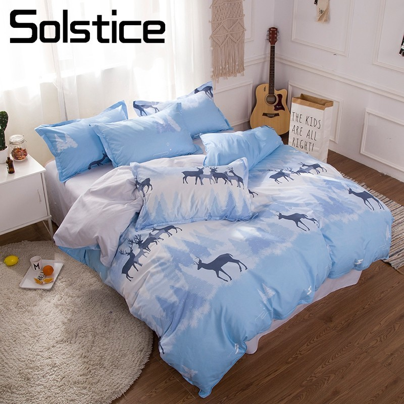 Solstice Home Textile Elk Deer Forest Bedlinen Kid Child Boy Bedding Sets Sky Blue Duvet Cover Pillowcase Bed Sheet Cover 3/4Pcs
