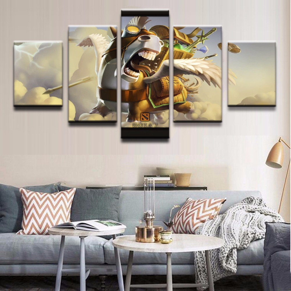 5 Pieces Canvas Game Poster Courier DotA 2 Horse Home Decor Painting Modern Canvas Printed Pictures Artwork Modular Cuadros