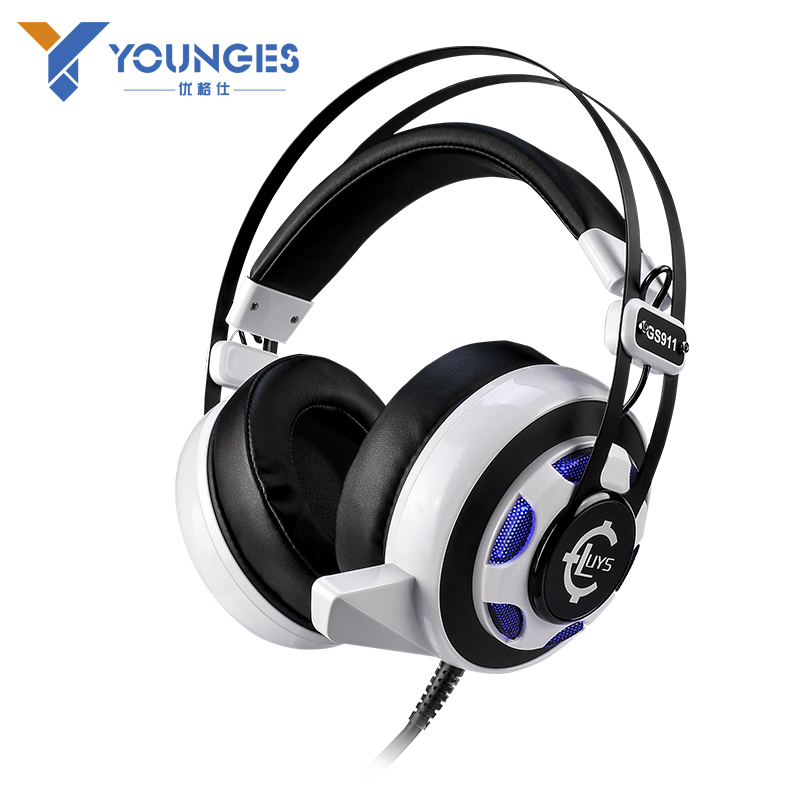 ФОТО High quality Computer Gaming Headphones Dual 3.5mm + USB Interface Glowing headphones Vibration Effects LOL / CS Gaming Headset