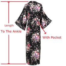 Искусственный шелк, атлас, Женский длинный халат, цветочное кимоно, банный халат, повседневная одежда для сна, домашняя одежда размера плюс, халат для невесты, подружки невесты