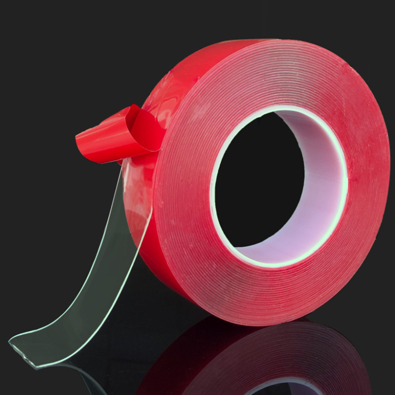 1cm*3m Strength Double Sided Tape No Trace Double Faced Adhesive Tape Transparent Super Viscosity A Hook Ornaments Gum Red Membr