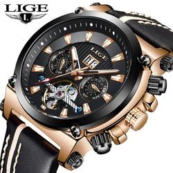 LIGE 男性腕時計トップブランドの高級ビジネスファッション腕時計自動トゥールビヨン革防水機械式時計年齢ガール腕時計 機械式時計 腕時計 -