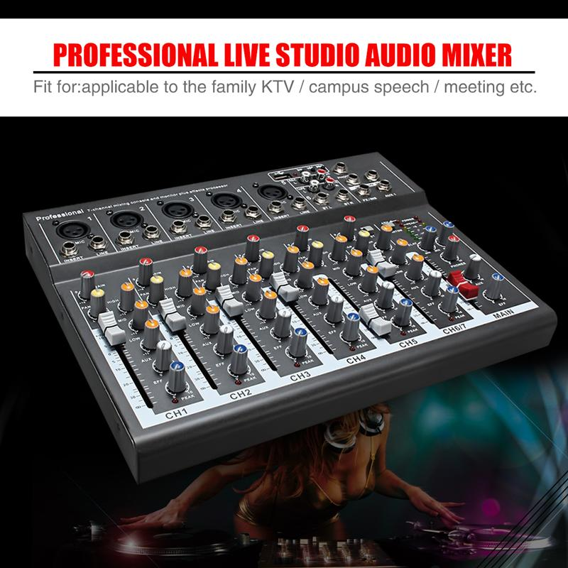 LEORY Professional 7 Channel Karaoke Audio Mixer Microphone Sound Mixing Console Amplifier With USB 48V Phantom Power