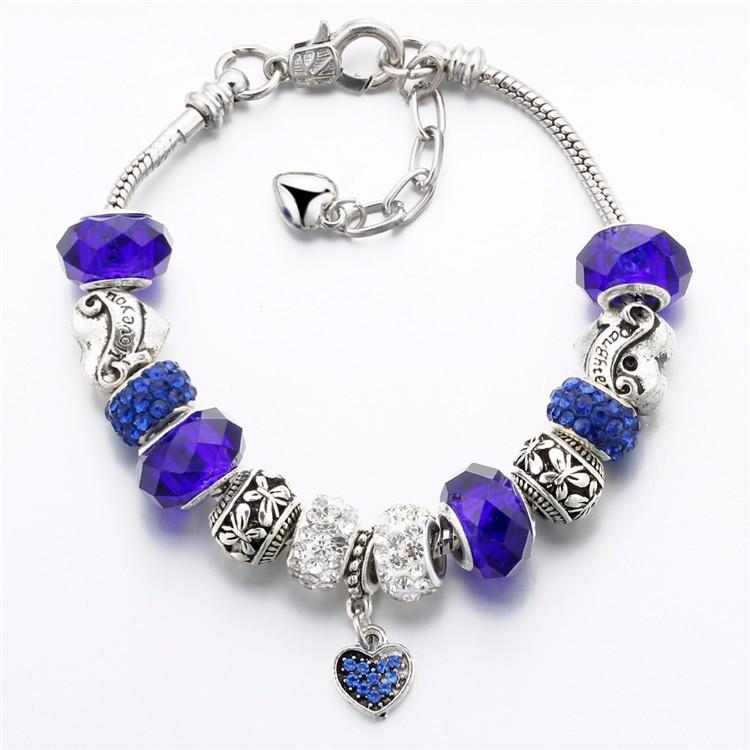 17KM Vintage Silver Color Charm Glass Bracelets For Women 17 New Crystal Heart Beads Bracelets & Bangles Pulseras DIY Jewelry 40