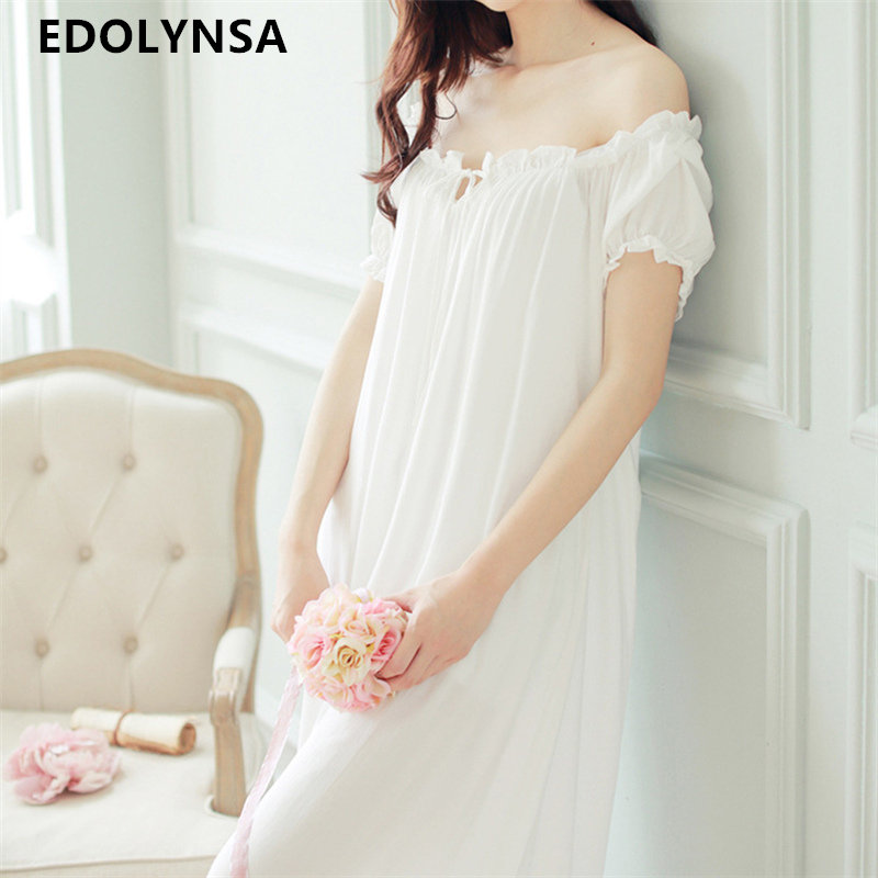 New Arrivals Summer Long Nightgowns O neck Loose Ladies Dresses Princess Sleep Wear Solid Lace Home