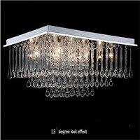 Modern LED Crystal Rectangle Remote Control 12 Heads Pendant Light Dining Room Bedroom 70 50 30cm