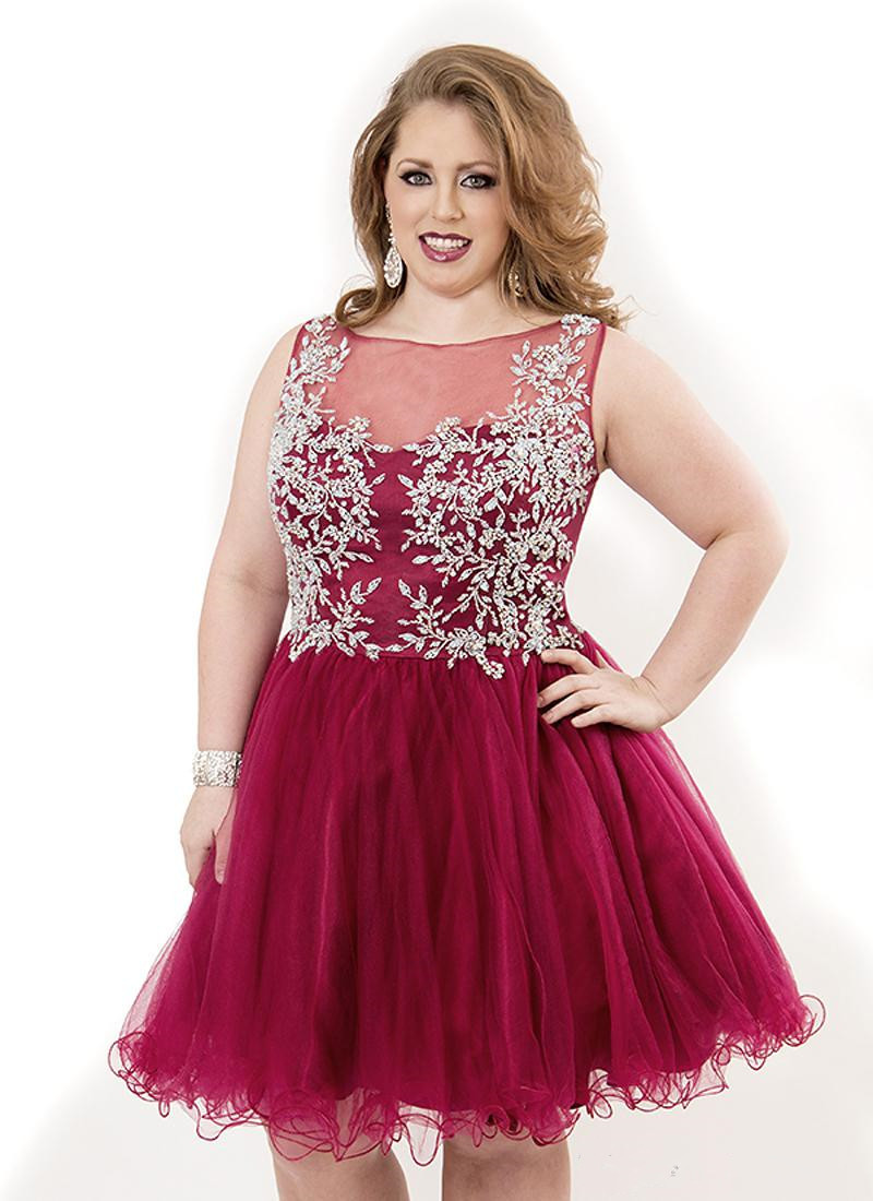 29f4bcc61030 Stylish Summer 2015 Red Short Prom Dress Women Plus Size Sheer Back Beaded  Crystal Homecoming Dresses-in Homecoming Dresses from Weddings & Events on  ...