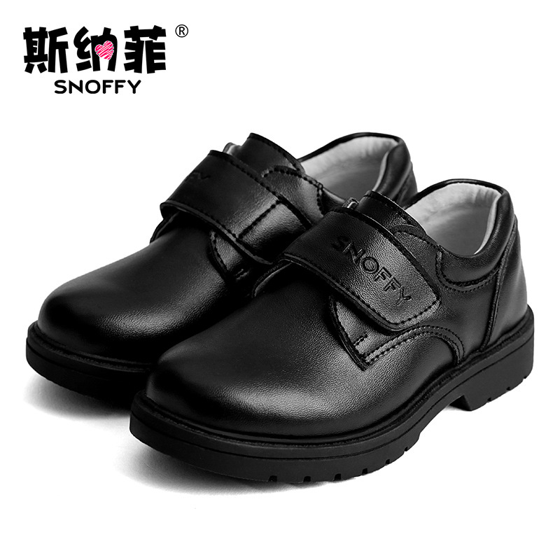 Snoffy Children Leather Shoes Dancing Wedding Boys Dress Shoes Genuine Leather Black School Shoes For Boys TX268 ...